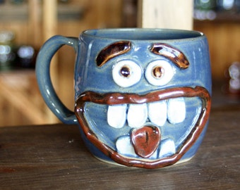 Large Blue Coffee Cup. Extremely Happy Big Smiley Face Coffee Cup. Over 20 Ounce Ceramic Mug. Unique Man Husband Father Boyfriend Gift