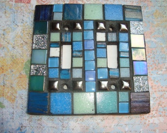 MOSAIC LIGHT SWITCH Plate Cover - Double, Shades of Blue, Touches of Silver