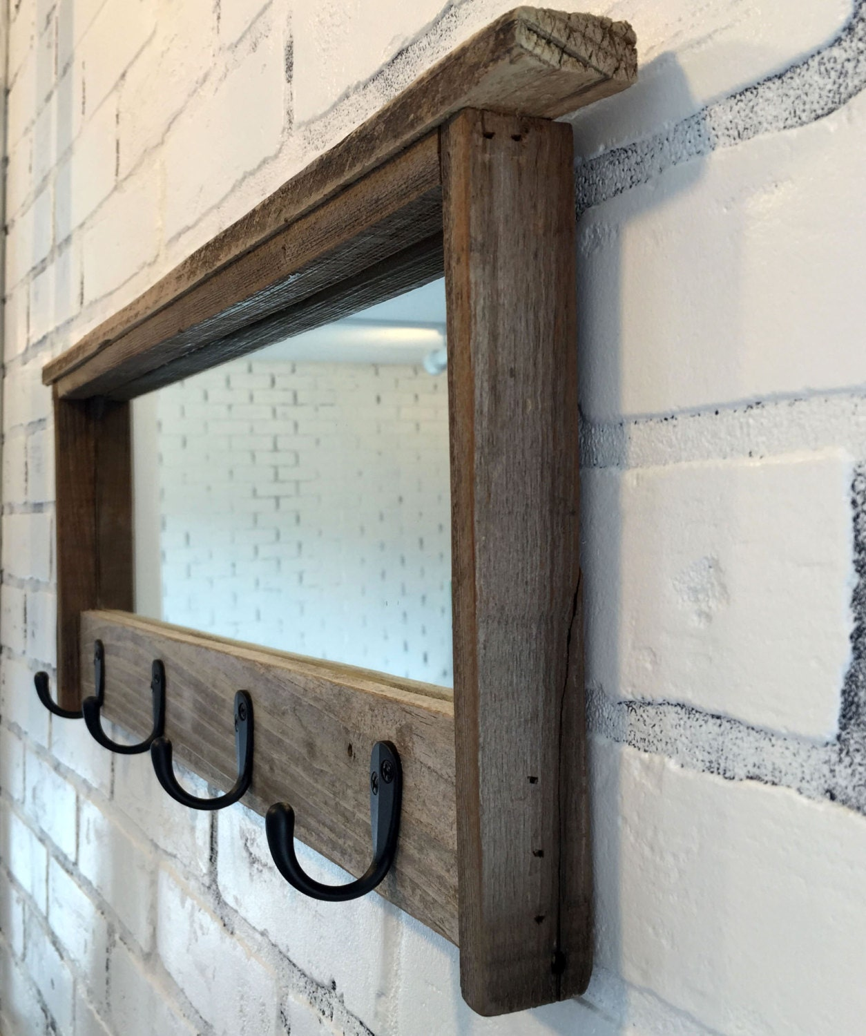 Wood Foyer Mirror : Entryway mirror with four coat hooks rustic reclaimed wood