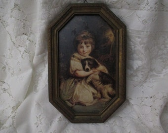 Darling Vintage Antique Children Picture Wall Hanging