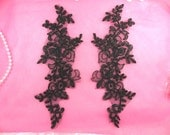"""Embroidered Venice Lace Appliques Black Mirror Pair Floral 10"""" (GB222X-bk)"""