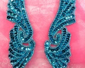 """JB241 Sequin Appliques MIRROR PAIR Turquoise Wings Patch 7""""  (JB241X-tr)"""