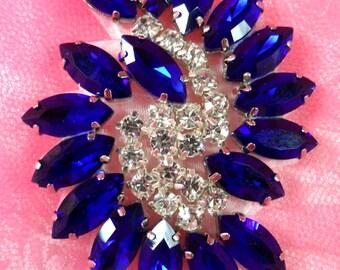 """XR349 Blue Marquise Swirl Crystal Rhinestone Applique 2.5"""" (XR349-blcr)"""