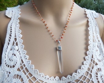 """Sterling Silver Quartz Point Necklace, 2"""" crystal point pendant, 18 inch Carnelian Rosary Necklace, Wire wrap"""