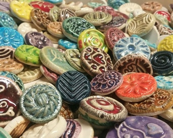 50 CERAMIC mini TILES - Mixed designs - glazed - Great for MOSAICS, magnets, jewelry designs, and more