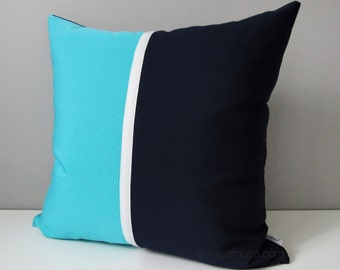 Navy Blue Outdoor Pillow Cover, Modern Turquoise Sunbrella Pillow Cover, Color Block Decorative Throw Pillow Cover, Blue White Cushion Cover