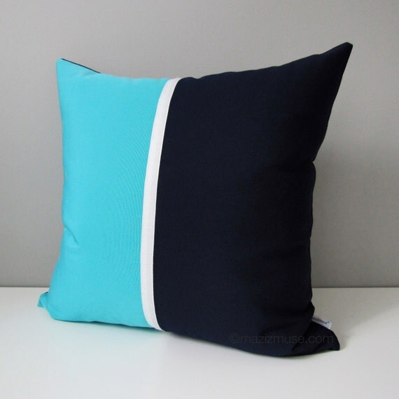 Navy Blue Outdoor Pillow Cover Modern Turquoise Sunbrella