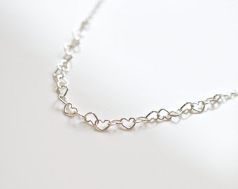 Silver hearts necklace, sterling silver, linked heart chain, little girl gift, romantic necklace, anniversary gift, simple jewelry - Anna