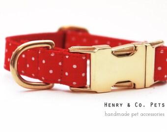Adjustable Polka Dot Dog Collar- Metal Hardware