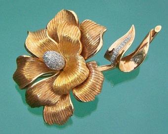 Brooch Pin Large Flower Bead-Set Rhinestone Pavé Vintage Costume Jewelry