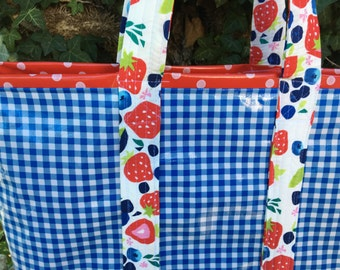 Large retro reversible oilcloth tote bag in royal blue gingham