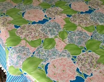 The Nantucket--hydrangea print oilcloth tablecloth