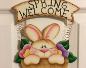 Spring Welcome Bunny in Flower Basket, hand painted wood wall or door hanger