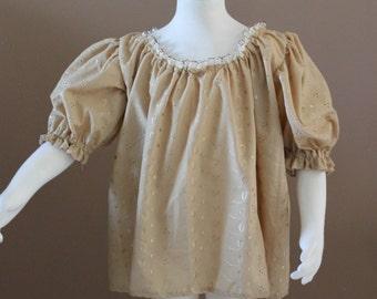 Girls Tan Chemise Cotton Childs Fairy Tale Dress Tudor Renaissance Medieval Costume Gown