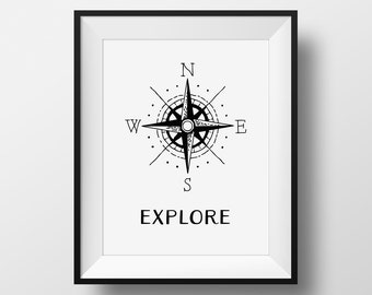 Explore Print, Explore The World, Compass Print, Vintage Travel Art, Travel Poster, Vintage Compass Sign, Compass Art, Explore