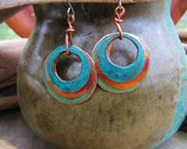 Copper Earrings Triple Stacked Rings Patina