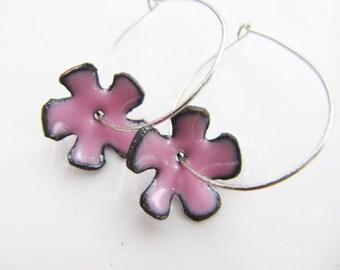 Enamel  Earrings with Enameled Flowers and Sterling Silver Hoops