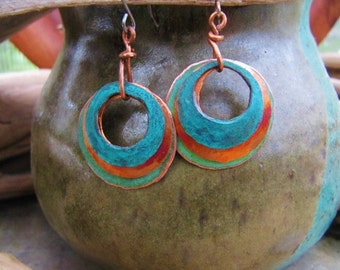 Triple Stacked Rings Patina Copper Earrings