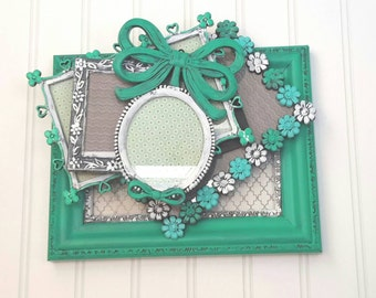 Turquoise and Mint Picture Frames, Wedding, Shabby Chic, Nursery, Wall Decor, One of a Kind, Hand Painted Vintage Picture Frames