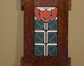 4 X 8 Motawi tile with quartersawn oak frame
