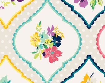 Adorn It Gigi Blooms Fabric Fresh Picked Nosegays Medallion Flowers Multicolor Posies on White