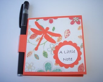 Dragonfly Post it note holder with gel pen Orange  dragonfly