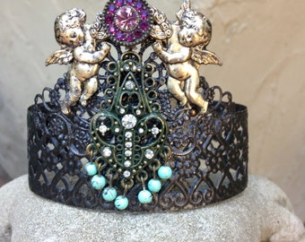 Decorative Crown Tiara For Doll Statue Bust Bronze Angel Cupid Putti Turquoise