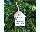 Personalized Christmas ornament - handstamped Christmas - heirloom gift- new home ornament - familly gift idea- custom Christmas ornament