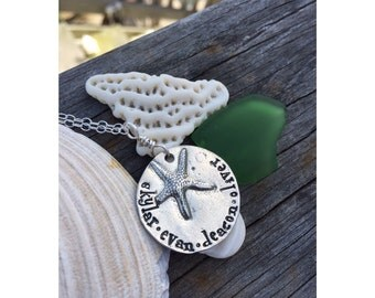 Personalized jewelry, starfish necklace, hand stamped pewter necklace with names