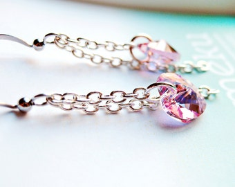 Pink Crystal Earrings, Fuchsia Heart Dangle Earrings with Swarovski elements, Bridesmaids gift idea, Will you be my bridesmaid, Gift for her
