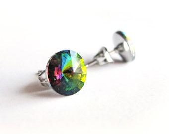 Crystal Rivoli Stud Earrings, Vitrail Medium Crystal Post Earrings, Green 8mm earrings, Swarovski cristal stud Earring, Stainless Steel Post