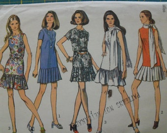 Simplicity 8684 Misses Mini Dress with Two Skirts and Scarf Size 10 bust 32.5