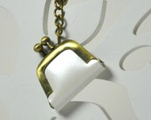 Keychain Tiny Purse Leather Mother of Pearl