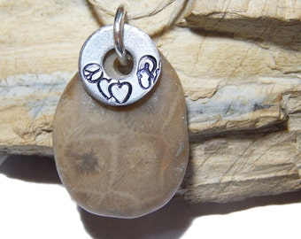 Peace Love Flip Flop Petoskey Stone Pendant Hand Stamped washer hand polished beach stone, up north Michigan, Lake stone, beach fossil