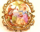 Vintage French Real Limoges porcelain  revival romantic scene Fragonard brooch lovely intricate gold frame -- Art.331/4 --