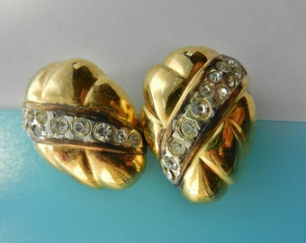 1950 Exquisite Italian deco gold and crystal earrings - elegant high-quality design --Art.109/2 -