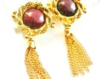 Beautiful 1970s original Italian dangling golden tassel Art Glass burgundy cabochon earrings -signed LAURANA Italian couture - Art.278/3-