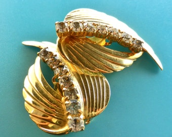 Stunning Rhinestone Climber gold leaf Earrings - large golden leaves with perfect crystal rhinestones ,glamour Italian Couture - art.250/2 -
