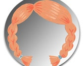 Hand painted mirror - Redhead with Braids