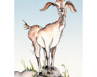 Goat Illustration Painting - Goating Around - Watercolor Art -6x4 Print set in 8x6 mount- goat, farm, animal,modern,art, painting