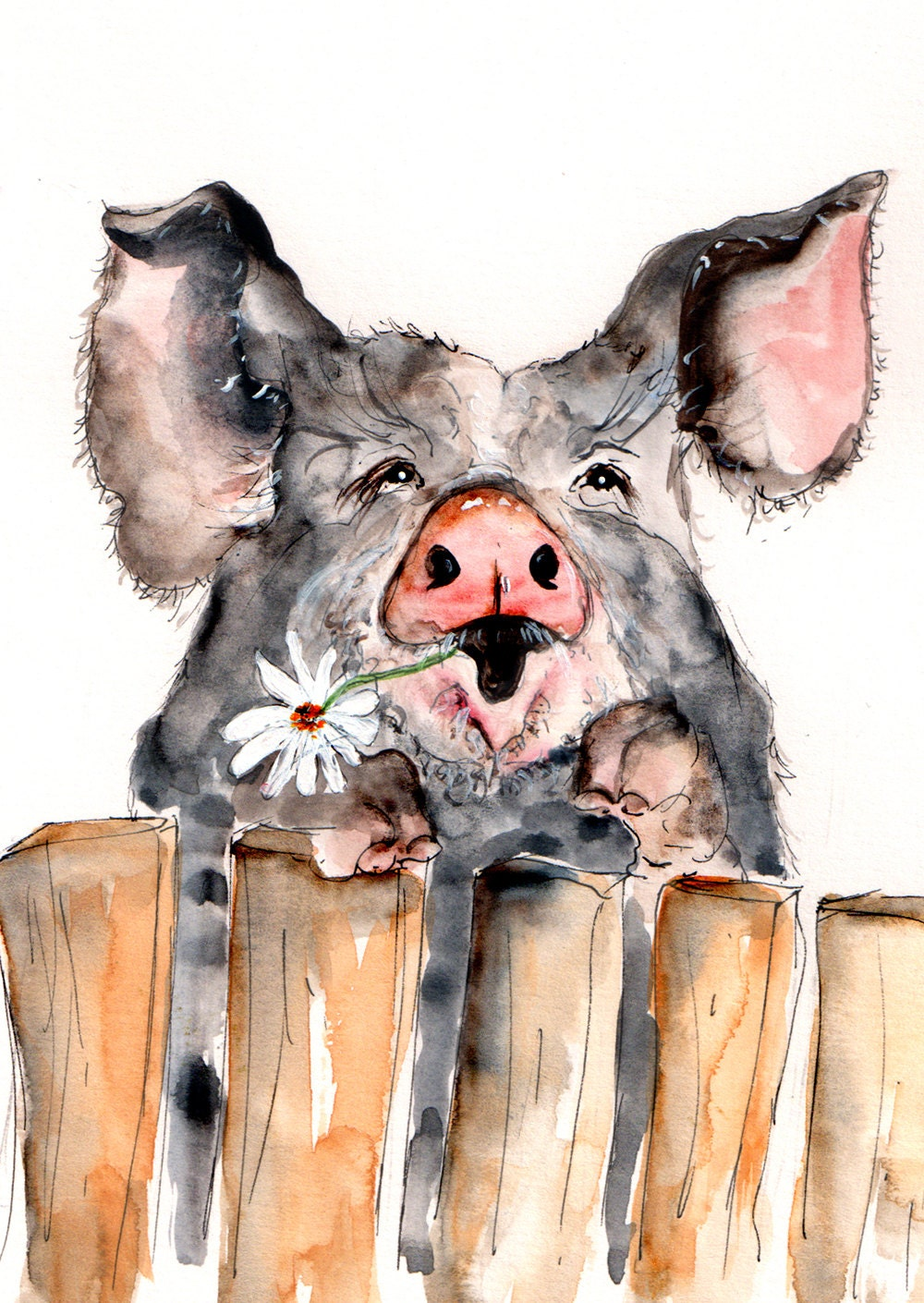 Pig Illustration Painting Pig Watercolor Art 6x4 Print