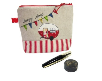 Personalised Gift, Cosmetic Bag, Gift for Mother, Cute Makeup Case, Zip Purse, Red Caravan Pouch, Charger Case, Make Up Bag