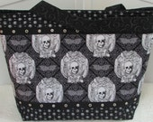 Gothic Skulls and Bats Skull Large Tote Bag Freak Out Skulls Purse Ready To Ship