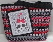 Love Luck and Sskulls Large Tote Bag , Girly skull Embroidery ,Day of The Dead purse