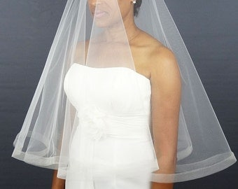 "Wedding Veil with Horsehair Trim, Drop Veil, 1/2"" Horsehair Trim or 1"" Horsehair Edge"