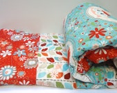 Baby Girl Quilt-Woodland Owls-Modern Adornit Owl Quilt-Red and Turquoise Baby Blanket