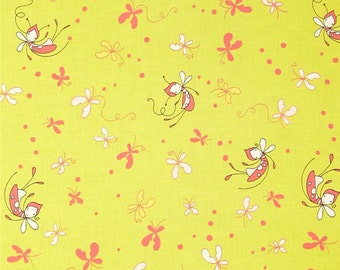 Crib Sheet-Fitted Crib Sheet-Baby Girl-Butterfly Dance-Riley Blake-Citrine and Coral-Diaper Changing Pad Cover-Mini Crib Sheet-Baby Bedding