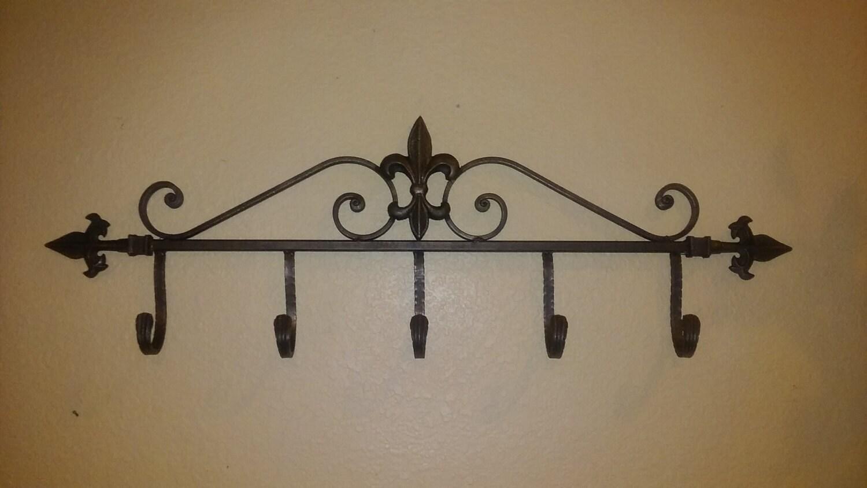 Iron fleur de lis wall hook coat rack free usa shipping - Fleur de lis coat hook ...