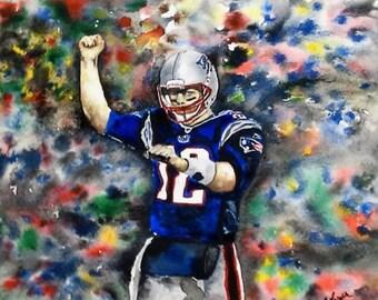 "Original Watercolor Print- ""Tom Brady"" Limited Edition Print"