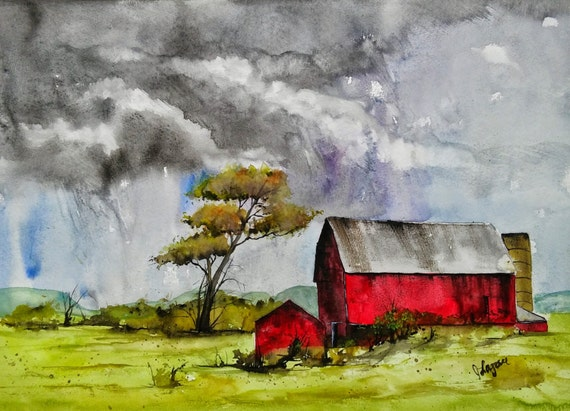 Original Watercolor painting,landscape print, RED barn, Watercolor painting, painting,watercolor, Jim Lagasse,LANDSCAPE WATERCOLOR, original